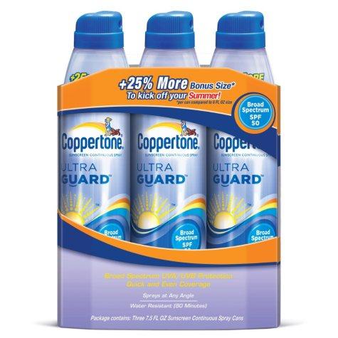 Coppertone Ultra Guard Continuous Spray SPF 50 Sunscreen - 7.5 fl. oz. - 3 ct.