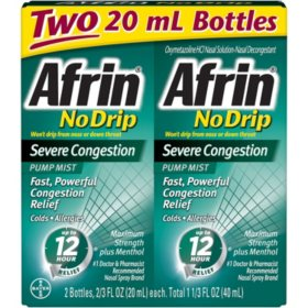 Afrin No Drip Severe Congestion Nasal Decongestant Pump Mist (20 ml each, 2 pk.)