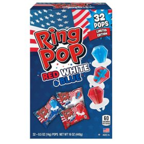 Ring Pop Limited Edition Red, White, and Blue Lollipop Variety Party Pack (16 oz., 32 ct.)