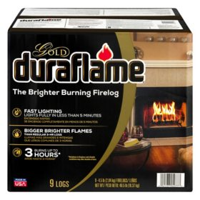 Duraflame Gold Ultra-Premium 4.5lb Firelogs, 9 pack Case, 3 Hour Burn