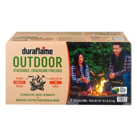 Duraflame Outdoor Crackling Firelogs, Case of 6 Logs for up to 3 Fires
