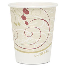 Solo Hot Cups, Symphony Design, 10oz, Beige -  1000/Carton