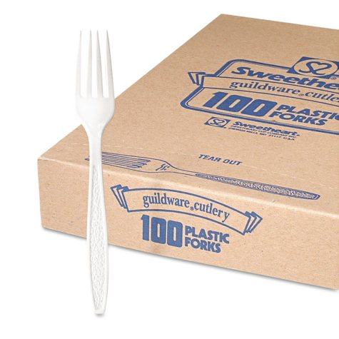 Solo Guildware Plastic Forks, Heavyweight, White, (1,000 ct.)