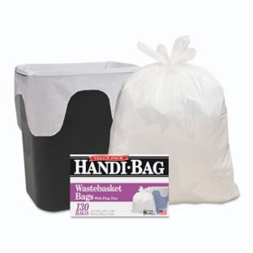 "Handi-Bag Super Value Pack, 8 gal, 0.6 mil, 22"" x 24"", White (130 ct.)"