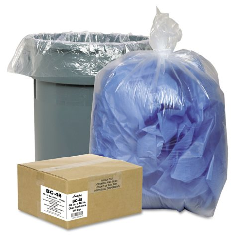Classic Clear - Clear Low-Density Can Liners, 7-10gal, .6mil, 24 x 23, Clear -  500/Carton
