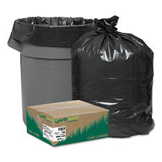 Earthsense Commercial - Recycled Can Liners, 56gal, 2mil, 43 x 47, Black -  100/Carton