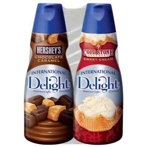 International Delight Hershey's Chocolate Caramel & Coldstone Sweet Cream Coffee Creamer - 32 oz. bottles - 2 pk.