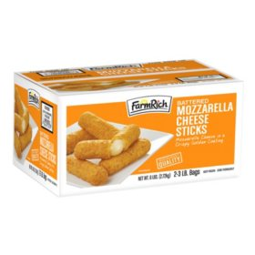Farm Rich Breaded Mozzarella Sticks, Frozen (3 lb. bags, 2 ct.)