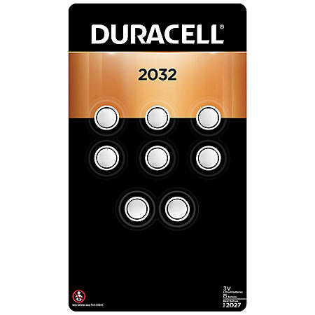 Duracell 2032 3V Lithium Coin Button Batteries (8 count)