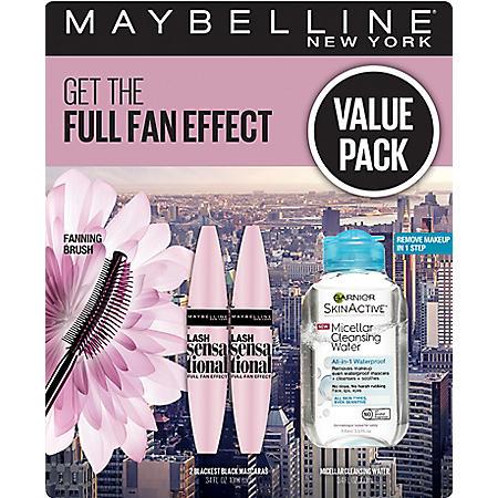 Maybelline Lash Sensational Washable Mascara and Garnier Micellar Cleansing Water Kit
