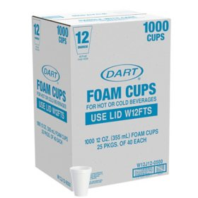 Member's Mark by Dart Foam Drink Cups, 12 oz., White (1000 ct.)