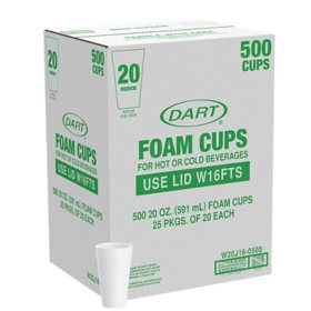 Dart® Foam Cups - 500/20 oz.