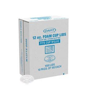 Dart Lids for Foam Cups and Containers, 12 oz. Cups, Translucent (1000 ct.)