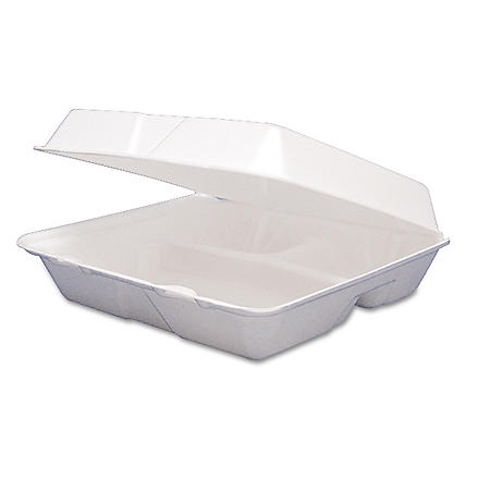 Dart Foam Hinged 3 Compartment Togo Boxes, Large (200 ct.)