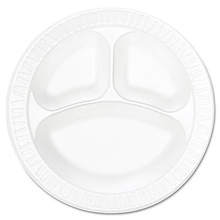 """Dart Concorde Foam Plate, Compartmented, 10 1/4"""" dia, WE, 125/Pack- 4pks, 125ct, total of 500 ct."""
