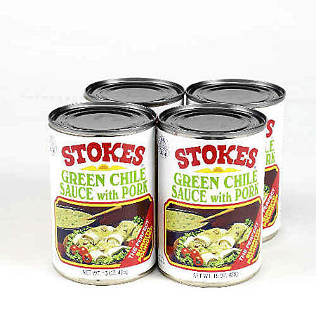 Stokes Green Chile Sauce w/Pork - 4/15 oz.