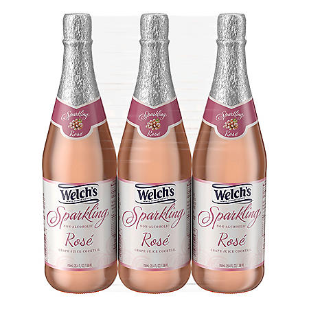Welch's Non-Alcoholic Sparkling Rosé Grape Juice Cocktail (25.4 fl. oz., 3 pk.)