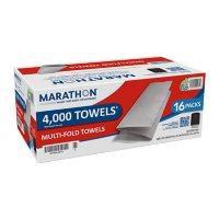 "Marathon Multifold Paper Towels, 1-Ply, 9 1/5"" x 9 2/5"", White (4000 ct.)"