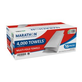 Marathon® Multifold Paper Towels, White, 250 Towels Per Pack, 16 Packs Per Case