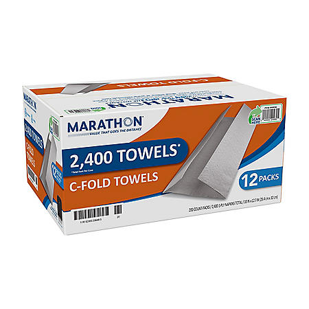Marathon C-Fold Paper Towels, White, 2400 Towels Per Case