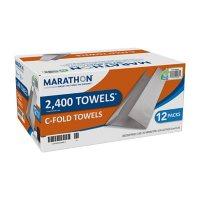 "Marathon C-Fold Paper Towels, 1-Ply, 10"" x 13"", White (2400 ct.)"