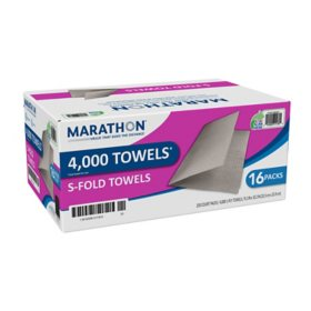 "Marathon Singlefold Paper Towels, 1-Ply, 9 1/4"" x 10 1/4"", Brown (4000 ct.)"