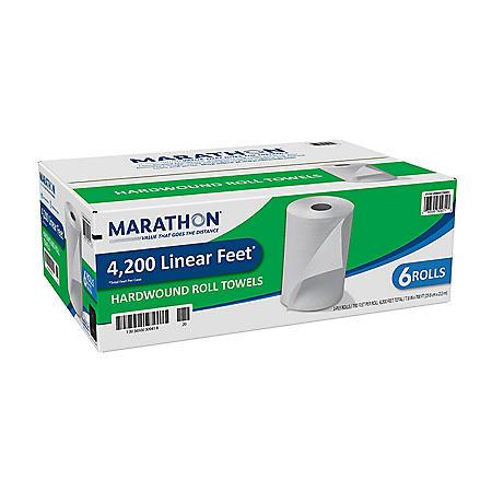 Marathon® Hardwound Paper Towel Rolls, White, 6 Rolls/Case