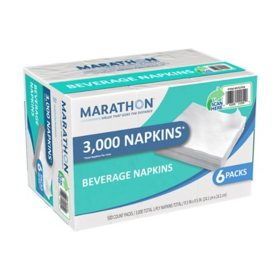 Marathon® 1-Ply Beverage Napkin, White, 3000 Napkins Total