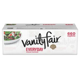 Vanity Fair Everyday Napkins, Disposable White Paper Napkins, 660 Count