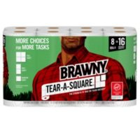 Brawny Tear-A-Square Paper Towels, Quarter Size 2-ply Sheets (128 sheets/roll, 8 rolls)