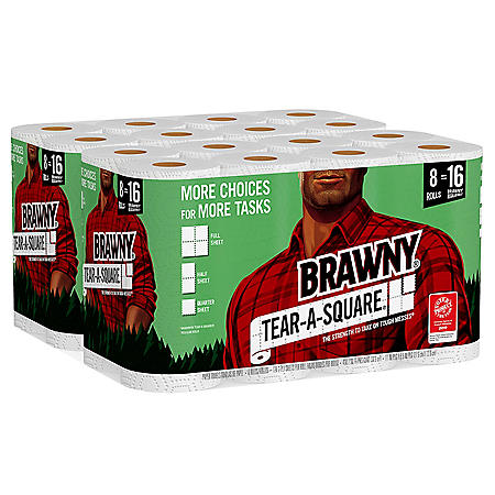 Brawny® Tear-A-Square® Paper Towels, Quarter Size Sheets (16 Rolls, 128 Sheets/Roll)
