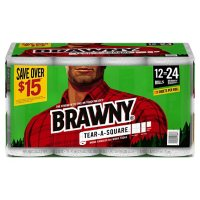 Brawny Tear-A-Square Paper Towels, Quarter Size 2-ply Sheets (128 sheets/roll, 12 rolls)