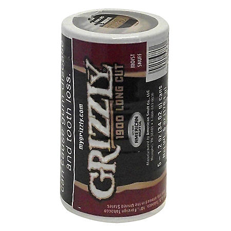 Grizzly 1900 Natural Long Cut Tobacco (5 cans, 1.2 oz. each)
