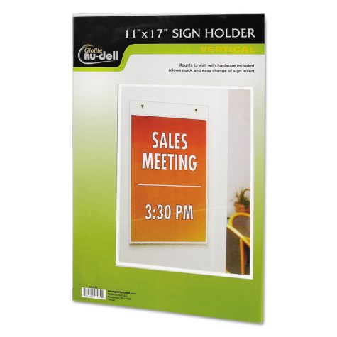 Nu-Dell Clear Plastic Sign Holder, Wall Mount -  11 x 17