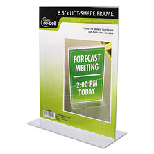 "Nu-Dell Clear Plastic Sign Holder - Stand-Up - 8 1/2"" x 11"""
