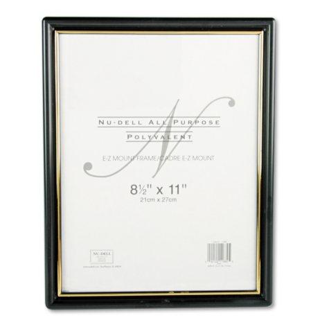 Nu-Dell EZ Mount Document Frame, Plastic, 8-1/2 x 11, Black