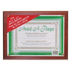 Nu-Dell ard-A-Plaque Document Holder, Acrylic/Plastic, 10-1/2 x 13, Mahogany