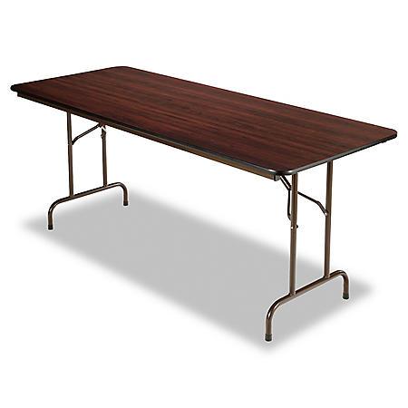 "Alera Wood Rectangular Folding Table,  72""W x 30""D x 29""H, Mahogany"