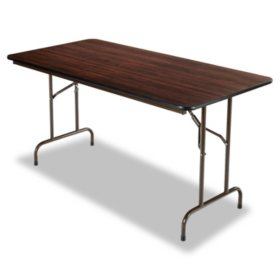 "Alera Wood Rectangular Folding Table, 60""W x 30""D x 29""H, Mahogany"