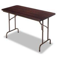 "Alera Wood Rectangular Folding Table, 48""W x 24""D x 29""H, Mahogany"