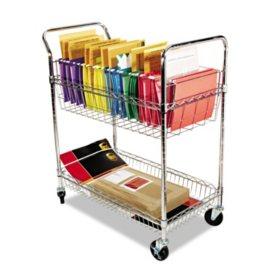 Alera 2-Shelf Wire Mail Cart, Chrome