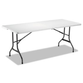 "Alera 71"" Fold-in-Half Resin Folding Table, White"