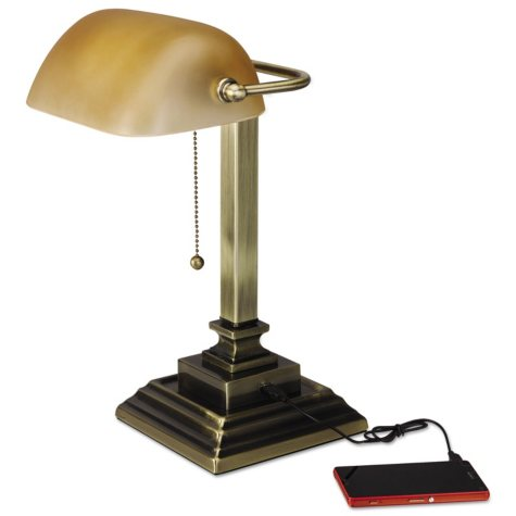 "Alera 16"" Traditional Antique Brass Banker's Lamp with USB, Amber Glass Shade"