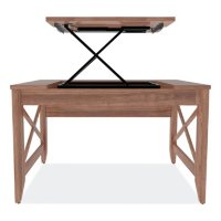 Alera Sit-to-Stand Table Desk, Modern Walnut