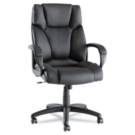 Alera Fraze High-Back Leather Swivel/Tilt Chair, Black