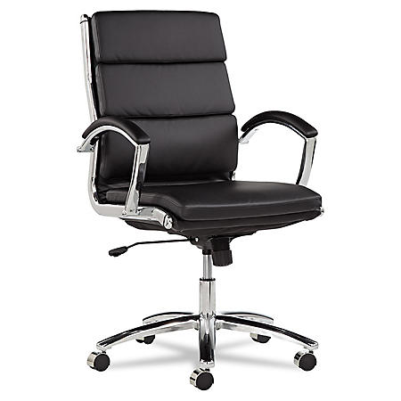 Alera Neratoli Mid-Back Leather Swivel/Tilt Chair, Select Color