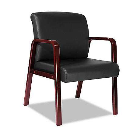 Alera Reception Lounge Series Leather Guest Chair, Black/Cherry