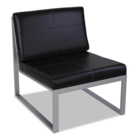 Alera Reception Lounge Series Armless Cube Chair, Black/Silver