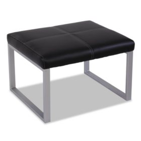 Alera Reception Lounge Series Cube Ottoman, Black/Silver