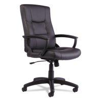 Alera YR Series Executive High-Back Leather Swivel/Tilt Chair, Black